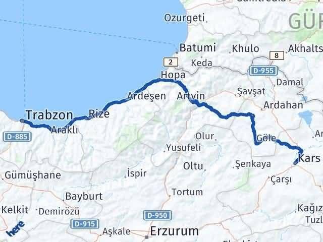 Trabzon ile Kars Arası Kaç Km? Kaç Saat? - Kmhesaplama.com Arası Kaç Km Saat? Nerede Yol Haritası Yakıt, Rota ve Mesafe Hesaplama