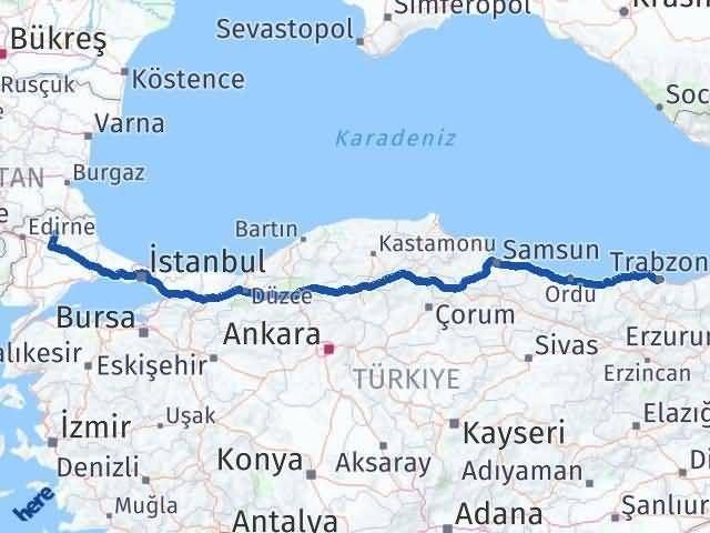 Trabzon ile Kırklareli Arası Kaç Km? Kaç Saat? Arası Kaç Km Saat? Nerede Yol Haritası Yakıt, Rota ve Mesafe Hesaplama