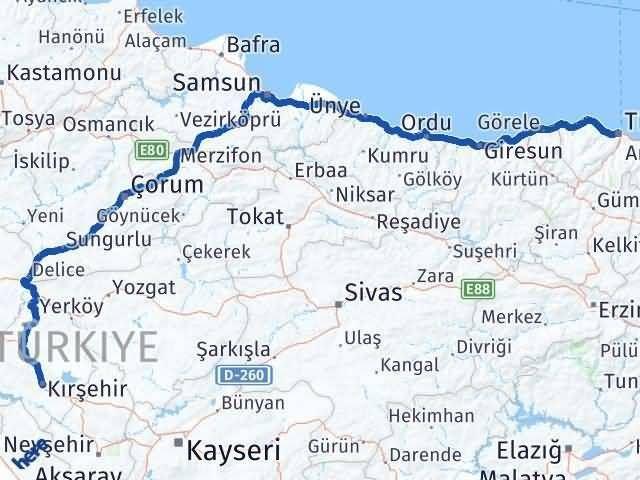 Trabzon Kırşehir Arası Kaç Km? Kaç Saat? - Km hesaplama Arası Kaç Km Saat? Nerede Yol Haritası Yakıt, Rota ve Mesafe Hesaplama