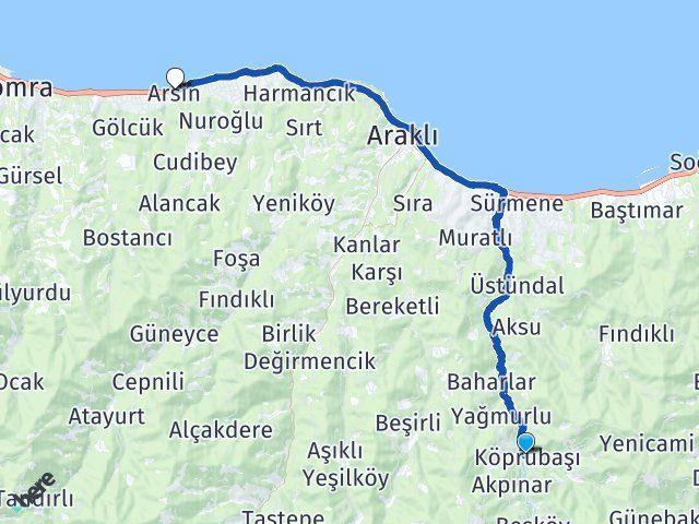 Köprübaşı Trabzon Arsin Arası Kaç Km? Arası Kaç Km Saat? Nerede Yol Haritası Yakıt, Rota ve Mesafe Hesaplama