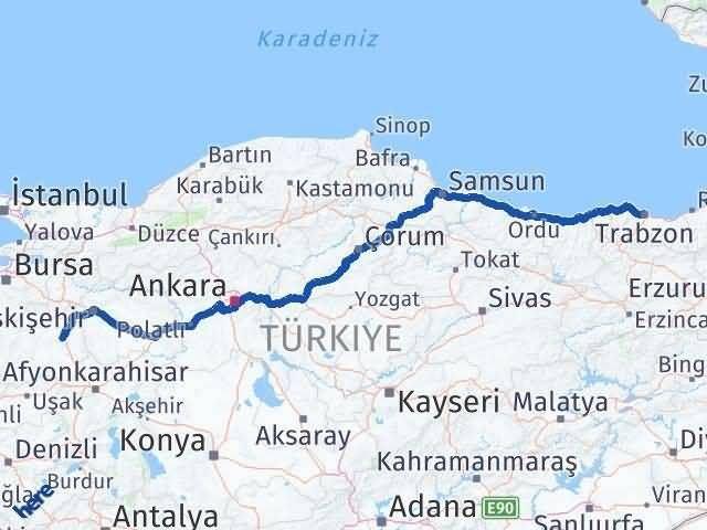 Trabzon Kütahya Arası Kaç Km? Kaç Saat? - Km hesaplama Arası Kaç Km Saat? Nerede Yol Haritası Yakıt, Rota ve Mesafe Hesaplama