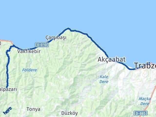 Trabzon Şalpazarı Arası Kaç Km? Yol Haritası - Km Hesaplama Arası Kaç Km Saat? Nerede Yol Haritası Yakıt, Rota ve Mesafe Hesaplama