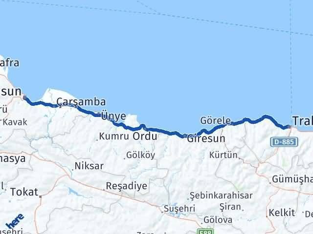 Trabzon ile Samsun Arası Kaç Km? Kaç Saat? Arası Kaç Km Saat? Nerede Yol Haritası Yakıt, Rota ve Mesafe Hesaplama