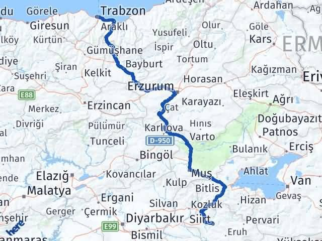 Trabzon ile Siirt Arası Kaç Km? Kaç Saat? - Kmhesaplama.com Arası Kaç Km Saat? Nerede Yol Haritası Yakıt, Rota ve Mesafe Hesaplama