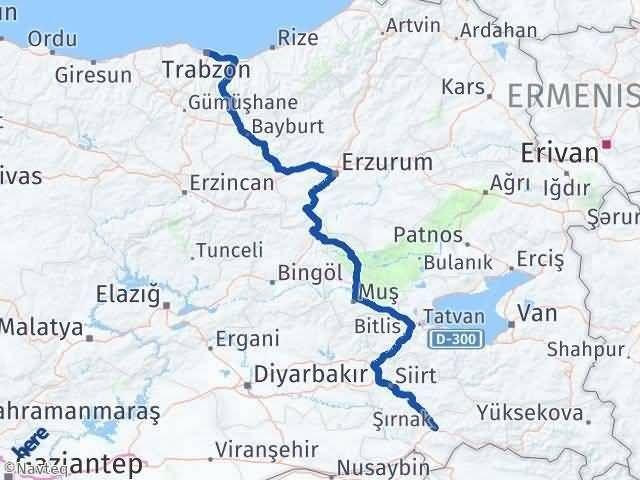 Trabzon ile Şırnak Arası Kaç Km? Kaç Saat? Arası Kaç Km Saat? Nerede Yol Haritası Yakıt, Rota ve Mesafe Hesaplama