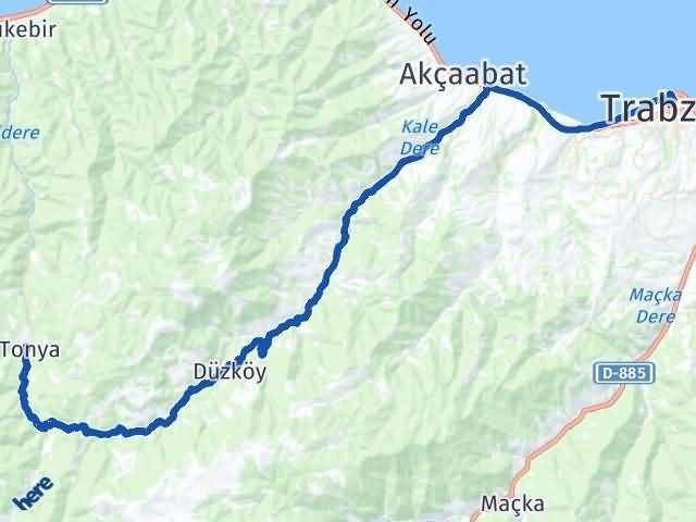 Trabzon Tonya Arası Kaç Km? Yol Haritası - Km Hesaplama Arası Kaç Km Saat? Nerede Yol Haritası Yakıt, Rota ve Mesafe Hesaplama