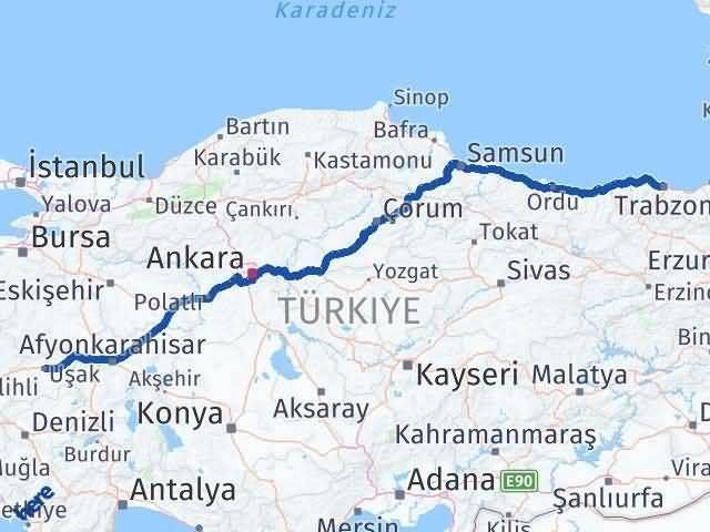 Trabzon ile Uşak Arası Kaç Km? Kaç Saat? - Kmhesaplama.com Arası Kaç Km Saat? Nerede Yol Haritası Yakıt, Rota ve Mesafe Hesaplama
