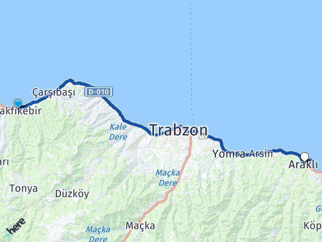 Trabzon Vakfıkebir Araklı Arası Kaç Km? Arası Kaç Km Saat? Nerede Yol Haritası Yakıt, Rota ve Mesafe Hesaplama