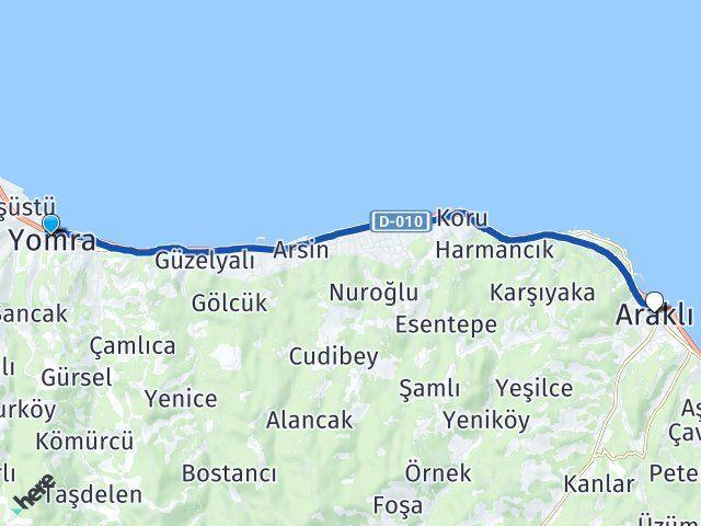 Trabzon Yomra Araklı Arası Kaç Km? Kaç Saat? - Km hesaplama Arası Kaç Km Saat? Nerede Yol Haritası Yakıt, Rota ve Mesafe Hesaplama