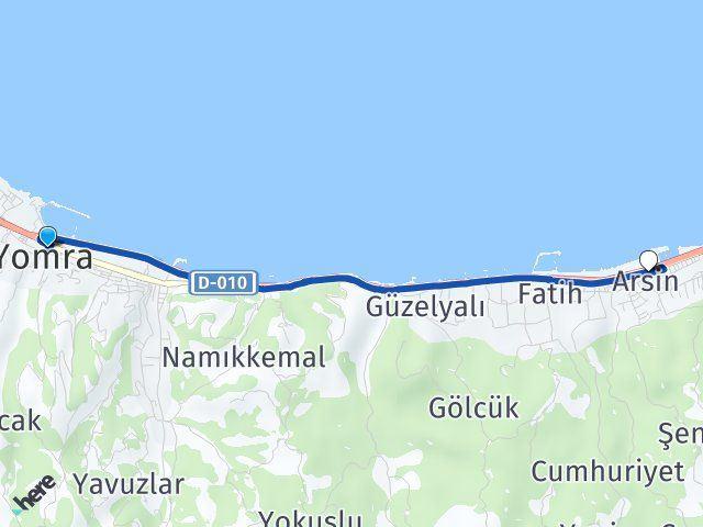 Trabzon Yomra Arsin Arası Kaç Km? Kaç Saat? - Km hesaplama Arası Kaç Km Saat? Nerede Yol Haritası Yakıt, Rota ve Mesafe Hesaplama