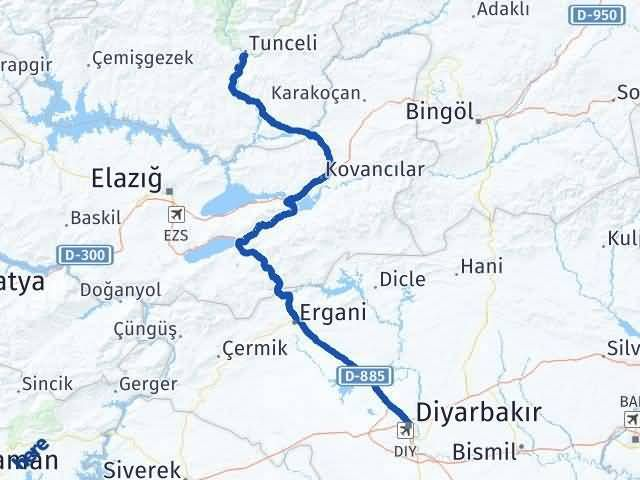Tunceli ile Diyarbakır Arası Kaç Km? Kaç Saat? Arası Kaç Km Saat? Nerede Yol Haritası Yakıt, Rota ve Mesafe Hesaplama