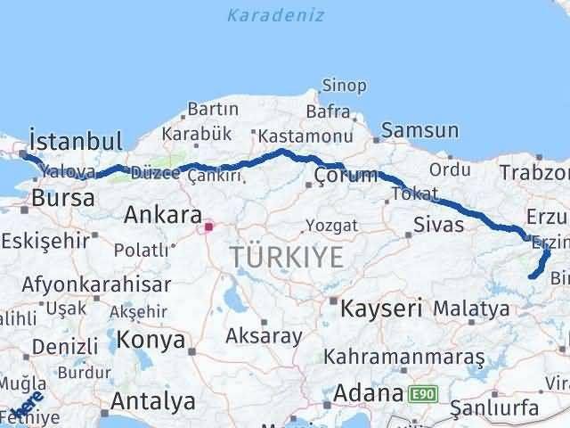 Tunceli ile İstanbul Arası Kaç Km? Kaç Saat? Arası Kaç Km Saat? Nerede Yol Haritası Yakıt, Rota ve Mesafe Hesaplama