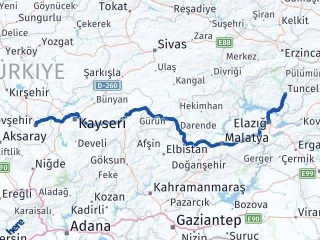 Tunceli ile Nevşehir Arası Kaç Km? Kaç Saat? Arası Kaç Km Saat? Nerede Yol Haritası Yakıt, Rota ve Mesafe Hesaplama