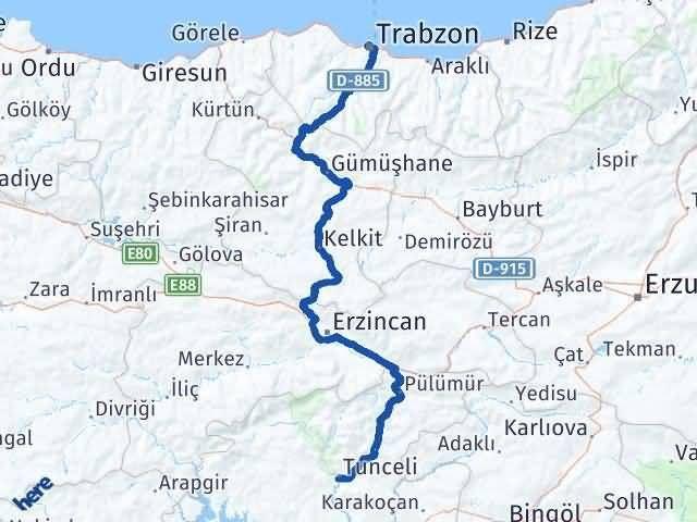 Tunceli ile Trabzon Arası Kaç Km? Kaç Saat? Arası Kaç Km Saat? Nerede Yol Haritası Yakıt, Rota ve Mesafe Hesaplama