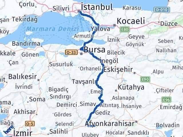 Uşak İstanbul Arası Kaç Km - Kaç Saat? Arası Kaç Km Saat? Nerede Yol Haritası Yakıt, Rota ve Mesafe Hesaplama