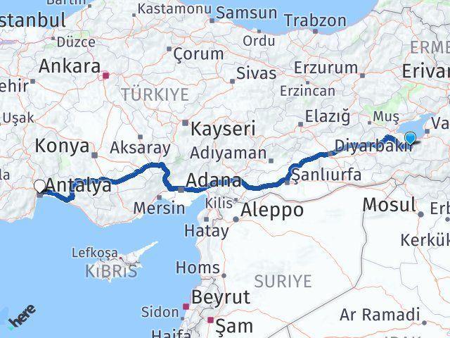 Van Bahçesaray Antalya Arası Kaç Km? Arası Kaç Km Saat? Nerede Yol Haritası Yakıt, Rota ve Mesafe Hesaplama