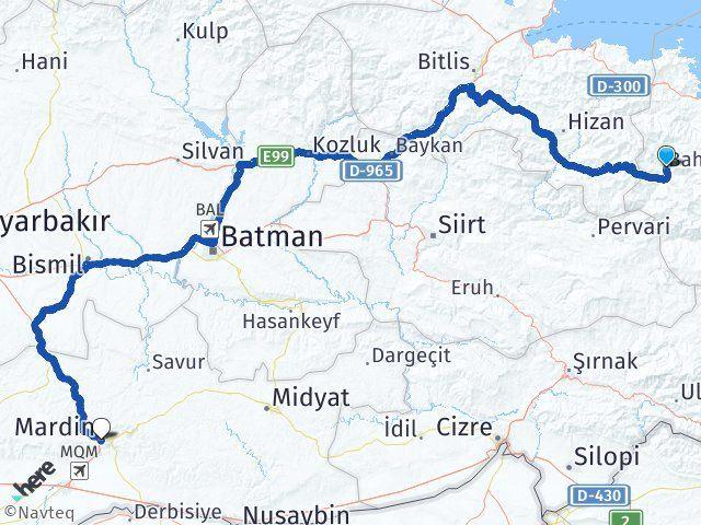 Van Bahçesaray Mardin Arası Kaç Km? Arası Kaç Km Saat? Nerede Yol Haritası Yakıt, Rota ve Mesafe Hesaplama