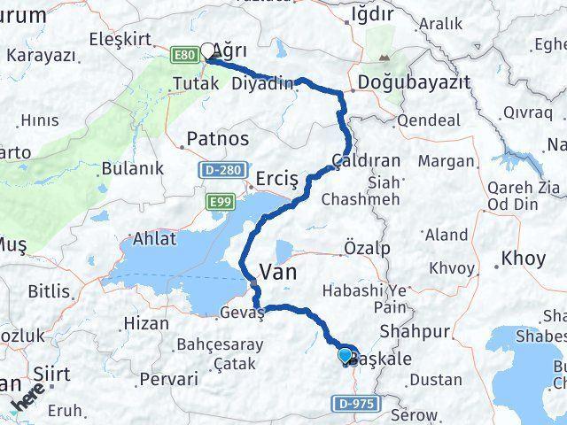 Van Başkale Ağrı Arası Kaç Km? Arası Kaç Km Saat? Nerede Yol Haritası Yakıt, Rota ve Mesafe Hesaplama
