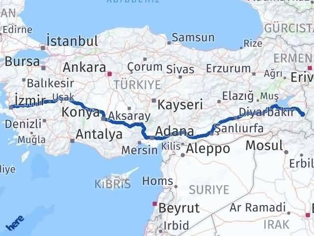 Van Başkale İzmir Arası Kaç Km? Arası Kaç Km Saat? Nerede Yol Haritası Yakıt, Rota ve Mesafe Hesaplama