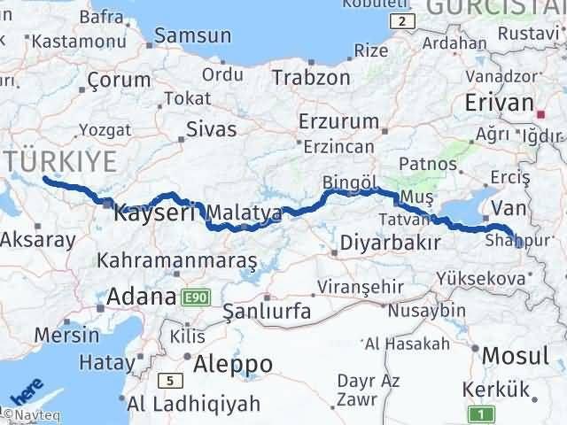 Van Başkale Kırşehir Arası Kaç Km? Arası Kaç Km Saat? Nerede Yol Haritası Yakıt, Rota ve Mesafe Hesaplama