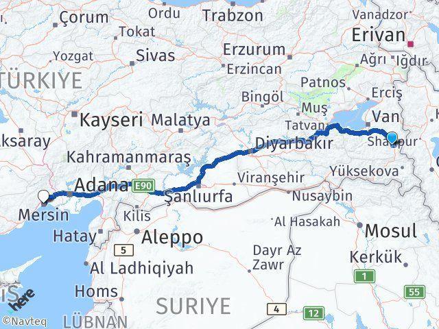 Van Başkale Mersin Arası Kaç Km? Arası Kaç Km Saat? Nerede Yol Haritası Yakıt, Rota ve Mesafe Hesaplama