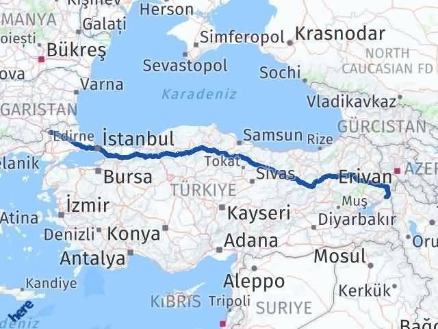 Van Çaldıran Edirne Arası Kaç Km? Arası Kaç Km Saat? Nerede Yol Haritası Yakıt, Rota ve Mesafe Hesaplama