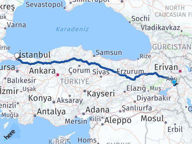 Van Çaldıran İstanbul Arası Kaç Km? Arası Kaç Km Saat? Nerede Yol Haritası Yakıt, Rota ve Mesafe Hesaplama