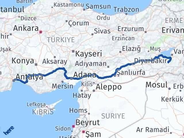 Van Çatak Antalya Arası Kaç Km? Arası Kaç Km Saat? Nerede Yol Haritası Yakıt, Rota ve Mesafe Hesaplama