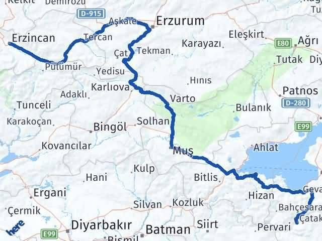 Van Çatak Erzincan Arası Kaç Km? Arası Kaç Km Saat? Nerede Yol Haritası Yakıt, Rota ve Mesafe Hesaplama