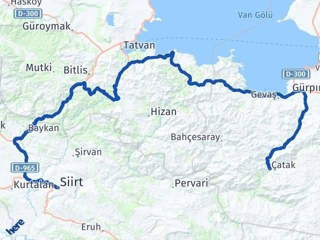 Van Çatak Siirt Arası Kaç Km? Arası Kaç Km Saat? Nerede Yol Haritası Yakıt, Rota ve Mesafe Hesaplama