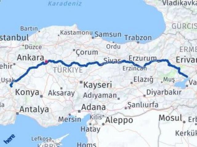 Van Erciş Afyon Arası Kaç Km? Arası Kaç Km Saat? Nerede Yol Haritası Yakıt, Rota ve Mesafe Hesaplama