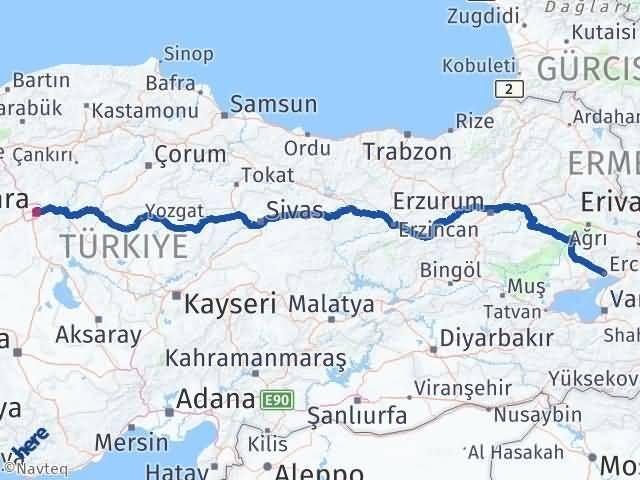 Van Erciş Ankara Arası Kaç Km? Arası Kaç Km Saat? Nerede Yol Haritası Yakıt, Rota ve Mesafe Hesaplama
