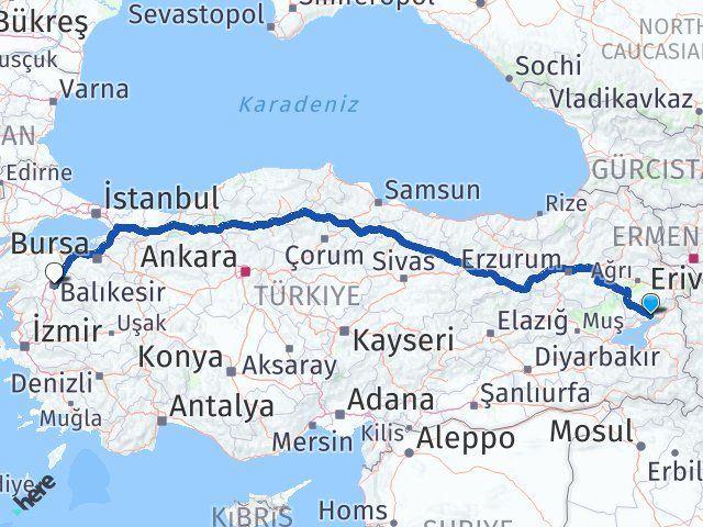 Van Erciş Balıkesir Arası Kaç Km? Arası Kaç Km Saat? Nerede Yol Haritası Yakıt, Rota ve Mesafe Hesaplama