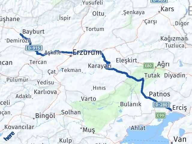 Van Erciş Bayburt Arası Kaç Km? Arası Kaç Km Saat? Nerede Yol Haritası Yakıt, Rota ve Mesafe Hesaplama