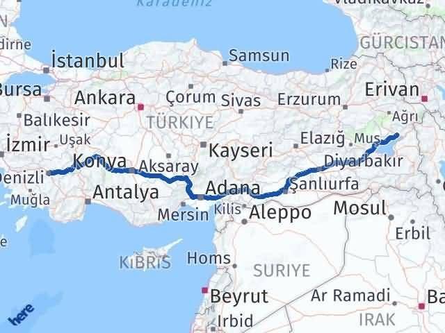Van Erciş Denizli Arası Kaç Km? Arası Kaç Km Saat? Nerede Yol Haritası Yakıt, Rota ve Mesafe Hesaplama
