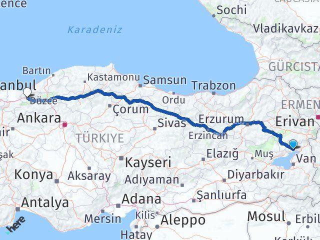 Van Erciş Düzce Arası Kaç Km? Arası Kaç Km Saat? Nerede Yol Haritası Yakıt, Rota ve Mesafe Hesaplama