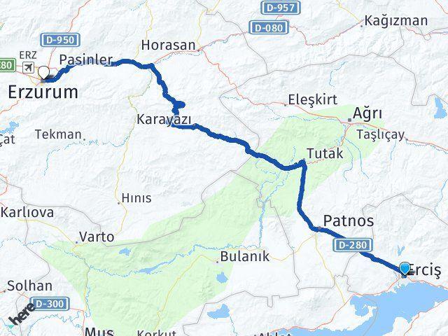 Van Erciş Erzurum Arası Kaç Km? Arası Kaç Km Saat? Nerede Yol Haritası Yakıt, Rota ve Mesafe Hesaplama
