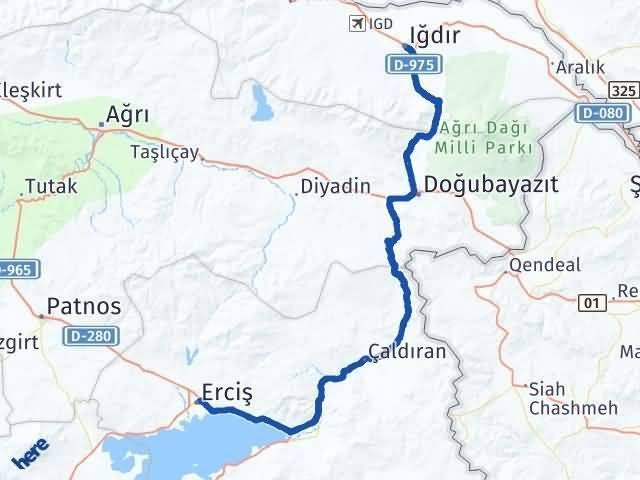 Van Erciş Iğdır Arası Kaç Km? Arası Kaç Km Saat? Nerede Yol Haritası Yakıt, Rota ve Mesafe Hesaplama