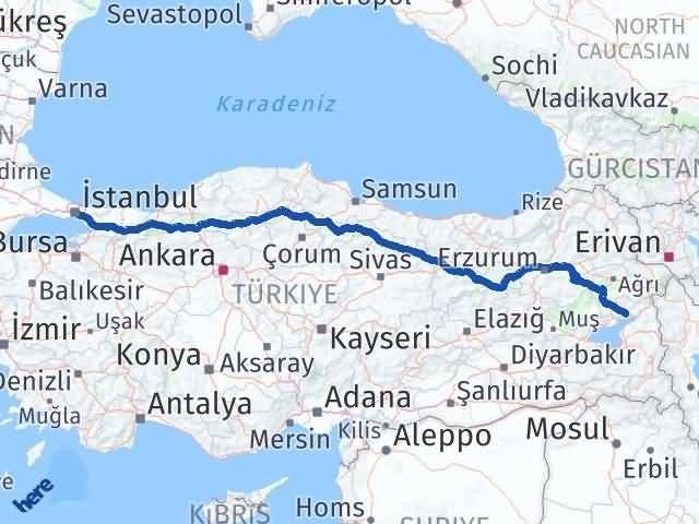 Van Erciş İstanbul Arası Kaç Km? Arası Kaç Km Saat? Nerede Yol Haritası Yakıt, Rota ve Mesafe Hesaplama