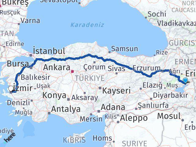Van Erciş İzmir Arası Kaç Km? Arası Kaç Km Saat? Nerede Yol Haritası Yakıt, Rota ve Mesafe Hesaplama