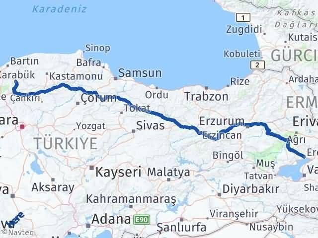 Van Erciş Karabük Arası Kaç Km? Arası Kaç Km Saat? Nerede Yol Haritası Yakıt, Rota ve Mesafe Hesaplama