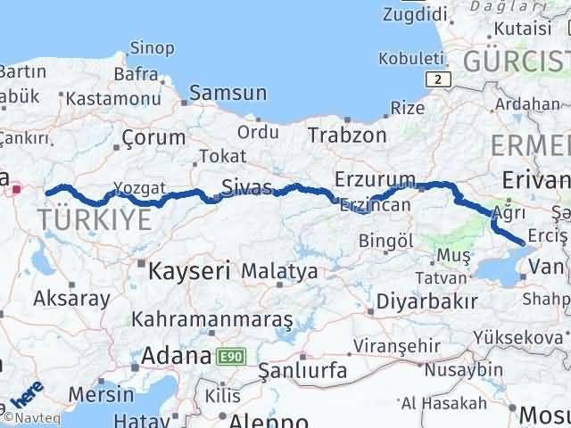 Van Erciş Kırıkkale Arası Kaç Km? Arası Kaç Km Saat? Nerede Yol Haritası Yakıt, Rota ve Mesafe Hesaplama