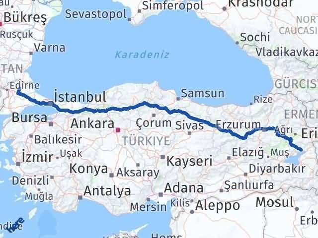 Van Erciş Kırklareli Arası Kaç Km? Arası Kaç Km Saat? Nerede Yol Haritası Yakıt, Rota ve Mesafe Hesaplama