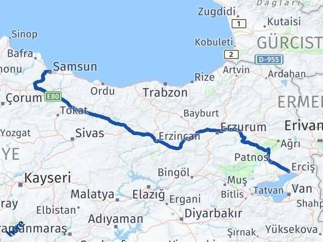 Van Erciş Samsun Arası Kaç Km? Arası Kaç Km Saat? Nerede Yol Haritası Yakıt, Rota ve Mesafe Hesaplama