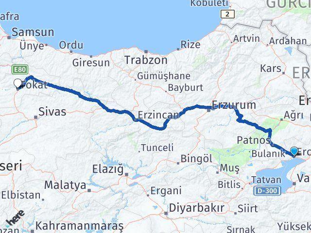Van Erciş Tokat Arası Kaç Km? Arası Kaç Km Saat? Nerede Yol Haritası Yakıt, Rota ve Mesafe Hesaplama