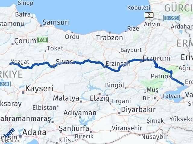 Van Erciş Yozgat Arası Kaç Km? Arası Kaç Km Saat? Nerede Yol Haritası Yakıt, Rota ve Mesafe Hesaplama