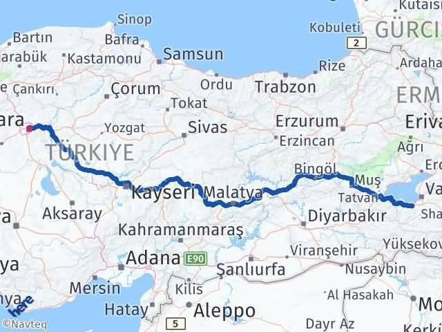 Van Gevaş Ankara Arası Kaç Km? Arası Kaç Km Saat? Nerede Yol Haritası Yakıt, Rota ve Mesafe Hesaplama