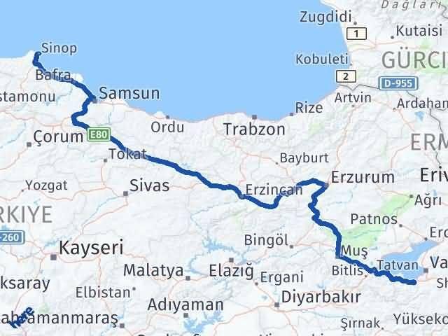 Van Gevaş Sinop Arası Kaç Km? Arası Kaç Km Saat? Nerede Yol Haritası Yakıt, Rota ve Mesafe Hesaplama