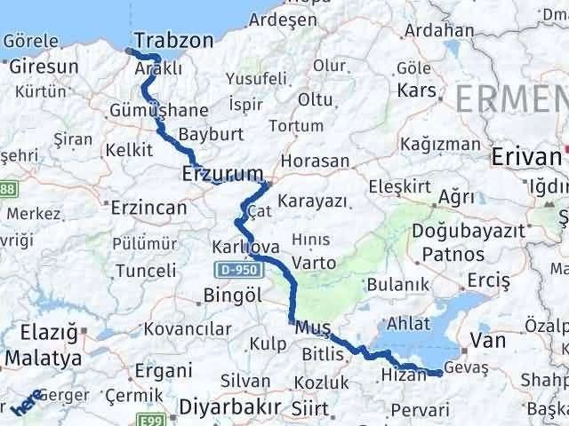 Van Gevaş Trabzon Arası Kaç Km? Arası Kaç Km Saat? Nerede Yol Haritası Yakıt, Rota ve Mesafe Hesaplama