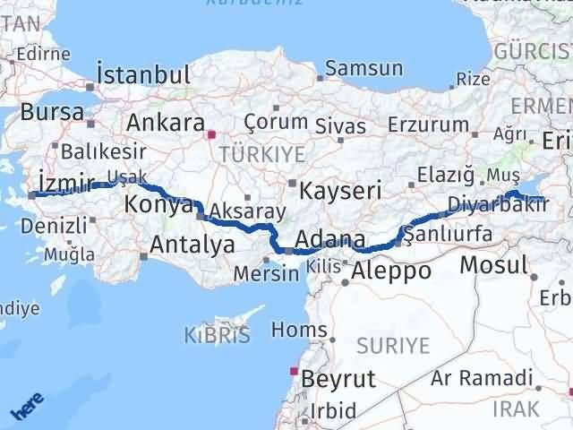 Van Gürpınar İzmir Arası Kaç Km? Arası Kaç Km Saat? Nerede Yol Haritası Yakıt, Rota ve Mesafe Hesaplama